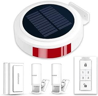 Wireless Outdoor Solar Powered Burglar Home Security Alarm Siren, Waterproof RV Alarm DIY Driveway Alert System with 2 Motion Detector, 1 Door Sensors and Remote Controls