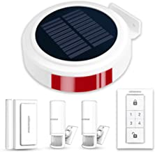 Wireless Outdoor Solar Powered Burglar Home Security Alarm Siren, Waterproof RV Alarm DIY Driveway Alert System with 2 Motion Detector, 1 Door Sensors and Remote Controls
