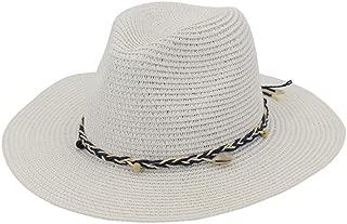 Men's Straw Hat with Ribbon Shell Decoration Woman Summer Beach Flat Brim Panama Sun Hats