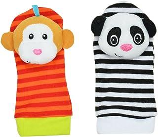 Mine Tom, Minetom 2SET brillante bebé infantil Kids Lamaze suave muñeca calcetines del pie del juguete buscador Rattle Manos alza Calcetines B Una Talla