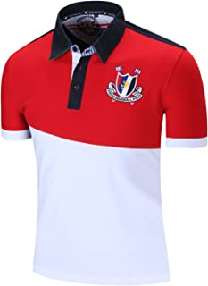 Men's Short Sleeve Classic Casual Golf Polo Shirt with Embroidery
