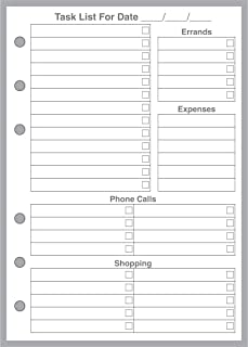 A6 Size Daily Task List and Planner Insert, Sized and Punched for 6-Ring Notebooks (4.1