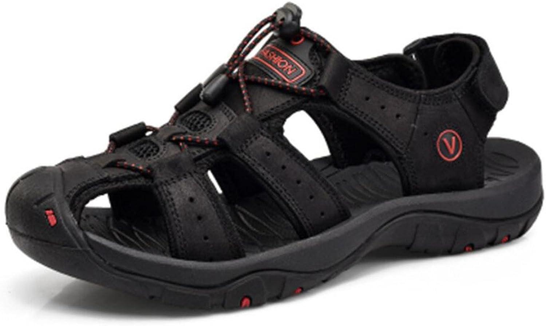 DANDANJIE Men Athletic Sandals Leather Walking Sandals Sport Hiking Summer shoes
