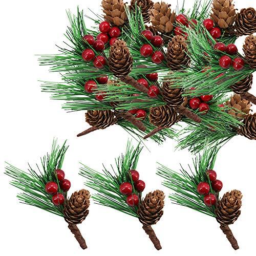 Lifreer 30 piezas de bayas de Navidad, ramas de pino artificial, pequeñas bayas falsas, conos de pino para arreglos florales de Navidad, coronas y decoraciones navideñas.