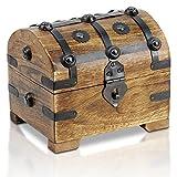 Brynnberg - Caja de Madera Cofre del Tesoro Pirata de Estilo Vintage, Hecha a Mano, Diseño Retro 14x11x13cm