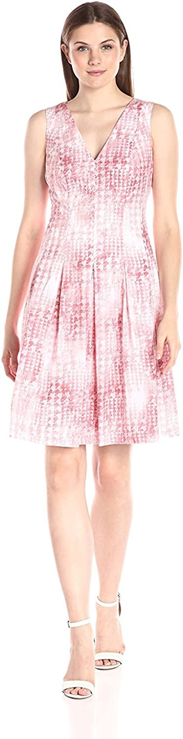 Anne Klein Women's Cotton Sateen Printed Double V-Neck and Back Fit and Flare