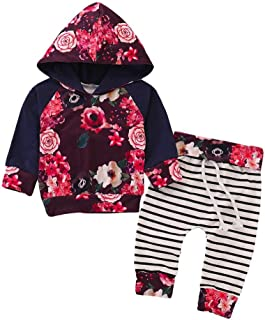 Baby Boys Girls Fashion Clothes Set Newborn Floral Hoodie Tops+Print Striped Pants Outfits Set 2Pcs