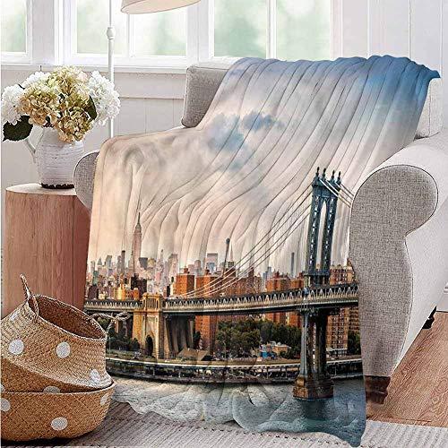 Luoiaax New York Commercial Grade Printed Blanket Manhattan Bridge in NYC Queen King W70 x L90 Inch