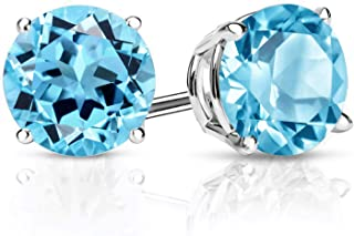 925 Sterling Silver Swiss Blue Topaz Gemstone Birthstone Stud Earrings, 3.10 Ctw Round 7MM