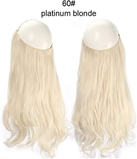 Wave Halo Hair Extensions Invisible Ombre Bayalage Synthetic Natural Flip Hidden Secret Wire Crown Grey Pink,Platinum Blonde,16Inches