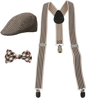 MagiDeal Fashion Kids Boys Stretchble Y-back Suspender Bowtie +Beret Cap Flat Hat Set