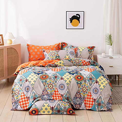USTIDE Duvet Cover Boho Style Breathable Comfortable Quilt Cover 100% Cotton Super Soft Bedding Set High Thread Count Luxury Duvet Cover Adult King Size Comforter Cover with Pillowcase