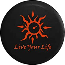Live Your Life Tribal Sun Compass Spare Tire Cover fits SUV Camper RV Accessories Orange Ink 32 in