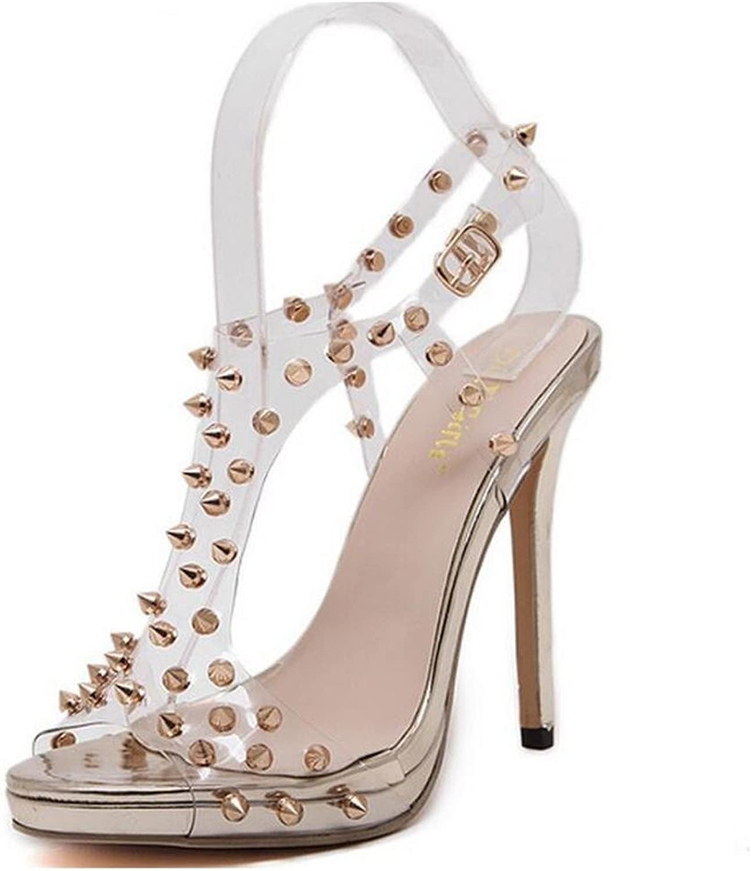 L@YC Women Comfort High Heels Rivet 13cm Prom Dress shoes