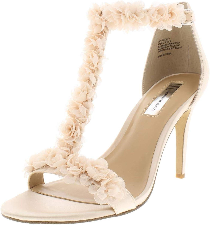 Inc Womens Rosiee 2 Satin T-Strap Dress Sandals Pink 7.5 Medium (B,M)
