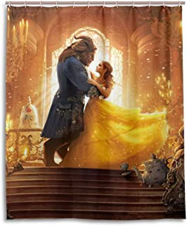 Shower Curtain Set, Fabric Beauty and The Beast Shower Curtains Waterproof Bathroom Decor Set with Hooks 60x72 Inch