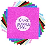 Holographic Sparkle Permanent Adhesive Craft Vinyl 12 Inches X 12 Inches,10 Sheets,Work with All Cutting Machines,Craft Cutters, Silhouette & Cameo,Sparkle Glitter Vinyl