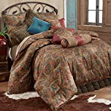 HiEnd Accents San Angelo Western Paisley Comforter Set, Super King, Leopard Bedskirt 4 PC
