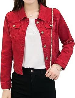 Only Faith Women's Solid Short Denim Jacket Long Sleeve Slim Jean Coat