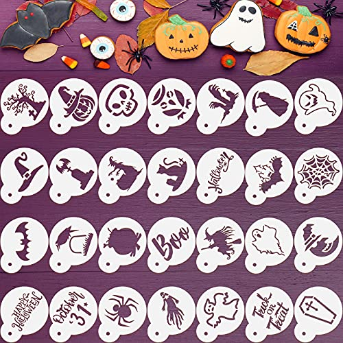 30 Pieces Halloween Cookie Stencil Halloween Cake Painting Stencils Baking Painting Mold Tools Reusable Drawing Templates for Halloween Party Dessert Coffee Cookies Birthday Cake Decoration