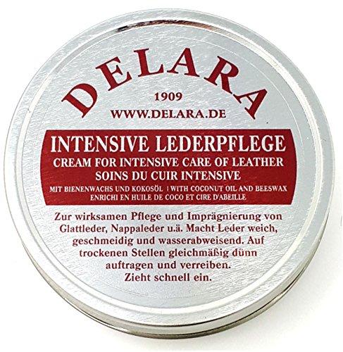 DELARA Intensive Lederpflege - 150 ml schwarz - Imprägniert und schützt Leder sehr wirksam, neue Rezeptur mit hochwertigem Kokosöl und Bienenwachs
