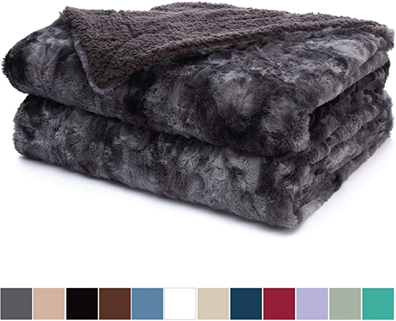 The Connecticut Home Company Luxury Faux Fur Bed Throw Blanket Queen Full Size 90x90 Soft Large Wrinkle Resistant Reversible Blankets Warm Hypoallergenic Washable Throws For Beds Gray Tie Dye