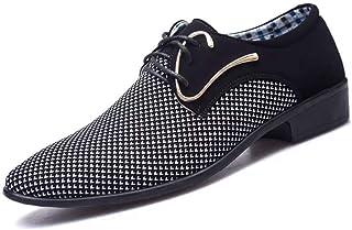 Zapatos de Vestir para Hombres Zapatos con Punta Puntiaguda con Cordones Low-Top Office Flock Costuras Planas Primavera Ot...