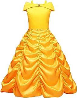 FYMNSI Disfraz de Princesa Belle Niñas Carnaval Cosplay de La Bella y la Bestia Fuera del Hombro Vestido Largo Amarillo Fiesta Ceremonia Halloween Navidad Cuento de Hadas Disfraces para 3-8 Años
