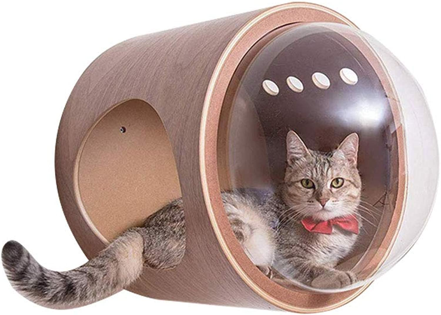 DYYTR Cat Space Capsule Cat Litter Transparent Window Cat House Wooden Cat Furniture Can Be Hung On The Wall Cat House Climbing Frame