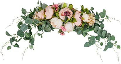 HiiARug Artificial Peony Flower Swag, 31 Inch Decorative Swag with Fake Peonies Hydrangeas Eucalyptus Leaves for Home Room...