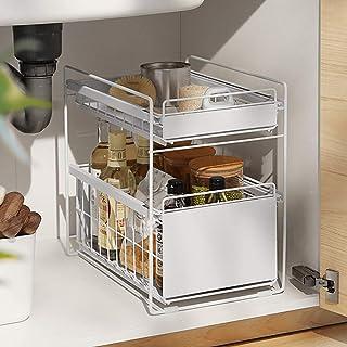 HUIJ sous évier étagère sous Evier Rack etagère de Rangement Cuisine Panier de Rangement Coulissant à 2 Niveaux pour Placa...