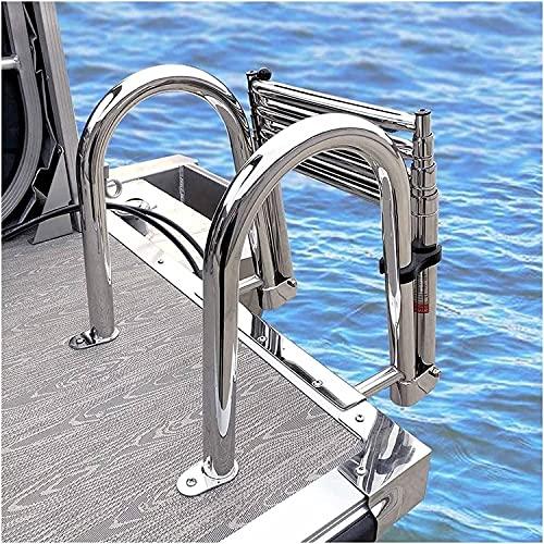 WSVULLD Telescoping 4 Step Pool Ladder för båt & däck, hopfällbar badstege för brygga, med pedal handreling