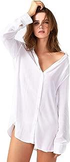 Sleep Shirts for Women Button Down Shirts Long Sleeve Sleepwear Swimsuit Cover Ups Soft Pajama Tops