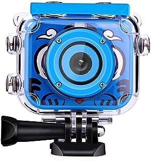 Posiveek Children Kids Camera Waterproof 100FT HD Action Camera 1080P 12MP Sports Camera Camcorder 2 inch LCD Screen (Blue)