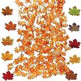 WILLBOND Guirnalda de Hojas de Arce de Otoño Guirnalda de Hojas Artificiales Planta de Vid Colgante para Thanksgiving Navidad Hogar Jardín Chimenea Boda Fiesta (41 Pies 200 Piezas)