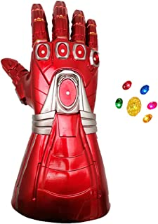 XXF New Infinity Iron Man Gauntlet Glove, Iron Man Glove LED with Removable Magnet Infinity Gems Light up- 3 Flash Mode for Adult Size.