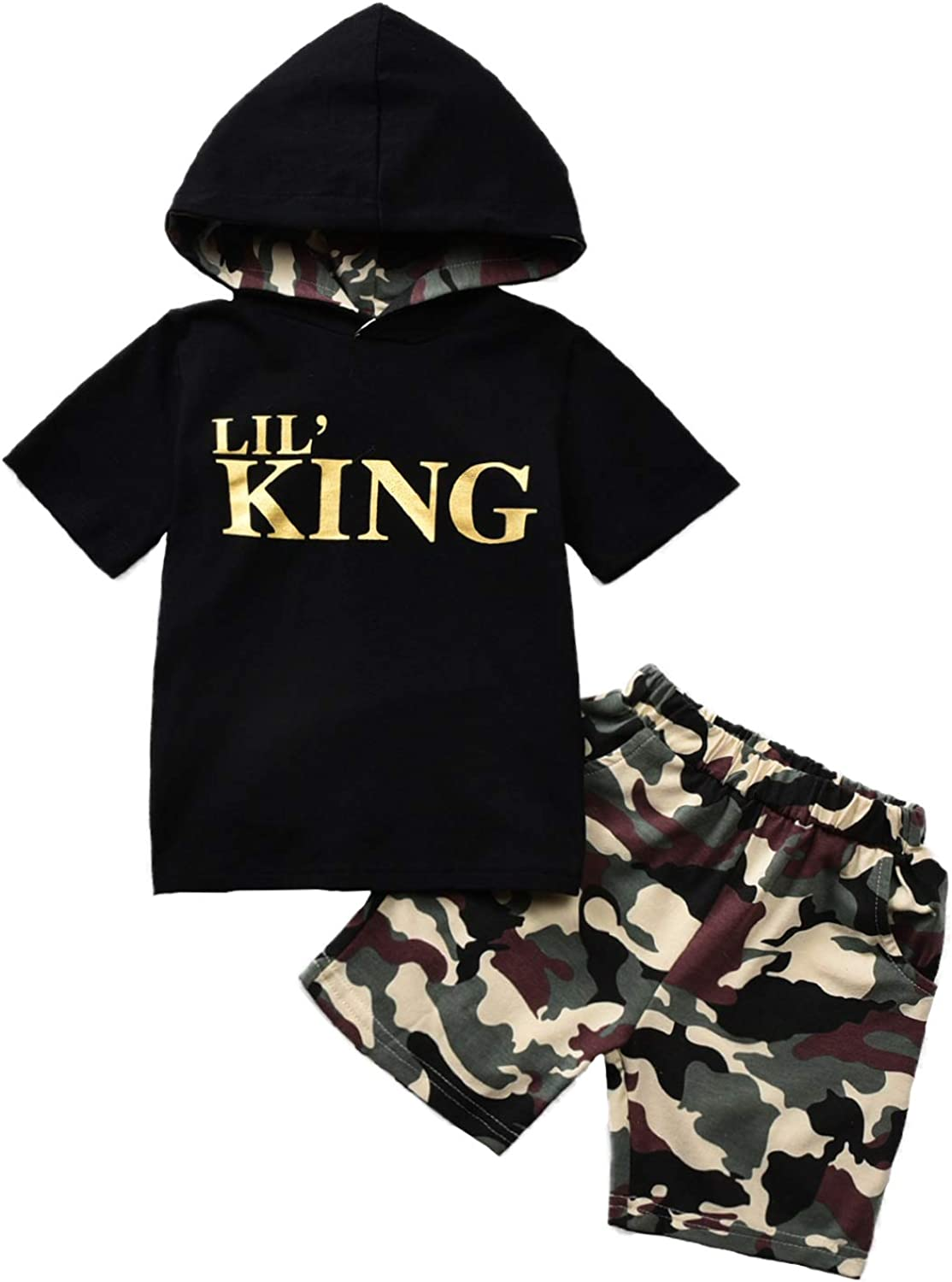 LXXIASHI 2Pcs Infant Baby Short Sleeve Letter Print Hoodie Tops + Camouflage Shorts Summer Outfits