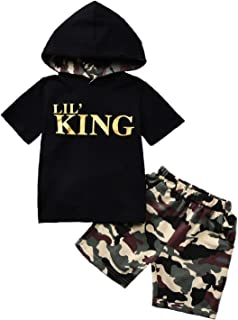 "T TALENTBABY Kleinkind Kleinkind Baby Jungen Kleidungsset Kurzarm Bedruckt Lil ""King Tops Hoodie T-Shirt  Camo Hosen/Shorts Sommer 2 Stück Outfits Strampler"