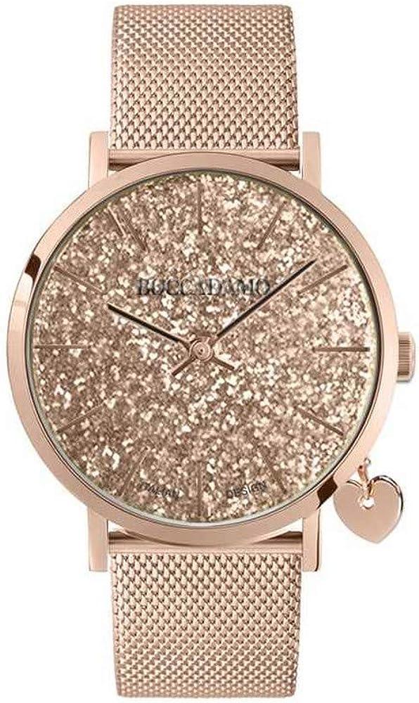 Boccadamo,orologio per donna,in acciaio rosato,con charm laterale rosato a forma di cuore MY018B