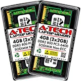 A-Tech 4GB (2x2GB) DDR2 800MHz SODIMM PC2-6400 1.8V CL6 200-Pin Non-ECC Unbuffered Laptop RAM Memory Upgrade Kit