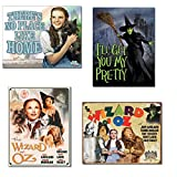 Wizard of Oz Tin Sign Bundle - There's No Place Like Home, I'll Get You My Pretty (Wicked Witch), Poster Illustrated of Cast and 70th Anniversary
