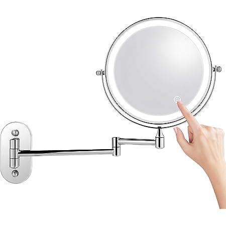 Einstellbare Touchscreen Helligkeit Wiederaufladbarer Makeup Spiegel TOGETOP Kosmetikspiegel beleuchteter Schminkspiegel mit 5X//1X Vergr/ö/ßerung 360/° Drehbar