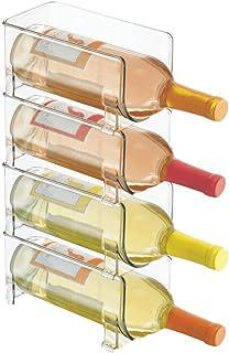 mDesign range-bouteilles en plastique – support pour bouteilles empilable et modulable pour stockage de 4 bouteilles de vi...