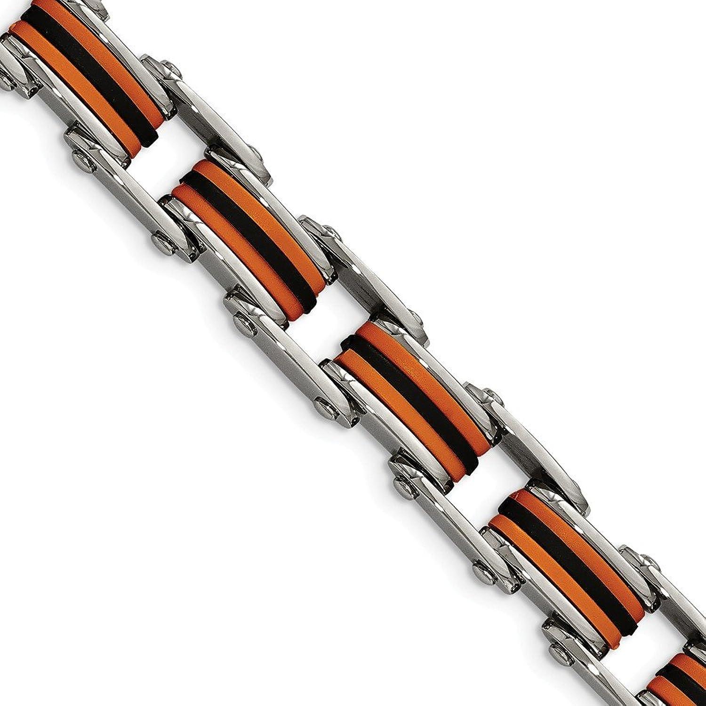 Beautiful Stainless Steel Black & orange Polyurethane 8.75in Bracelet