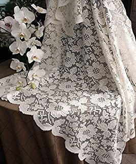 AK-Trading Floral Lace Crochet Tablecloth Overlay Table Cover (54-Inch Square, Ivory)