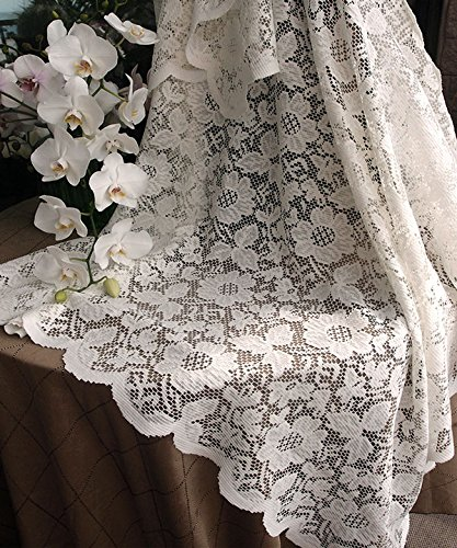 AK-Trading 54-Inch Ivory Floral Lace Crochet Square Tablecloth Overlay Table Cover