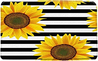 Sunflower Bath Mat Black and White Striped Yellow Flower Summer Rustic Floral Creative Concise Beautiful Picture Print Bat...