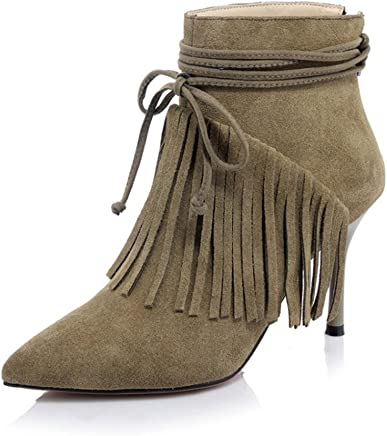 93b2466f2e0 VASHOP Women s Suede Pointy Toe High Heel Stiletto Tassels Ankle High Boots
