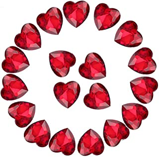Crystal Rhinestones 50pcs AB Crystals Pointback Heart Glass Rhinestone for DIY Crafts Jewelry Making,12mm,Red