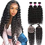 Brazilian Deep Wave Bundles With Closure Virgin Remy Human Hair Curly Bundles With Closure For Black Women Wet and Wavy Bundles With Closure Free Part With Baby Hair Wlily Hair(18 20 22+16)